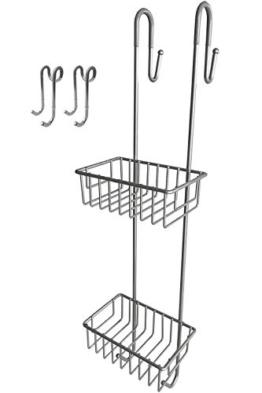 Bamodi Duschregal zum Hängen - Duschablage ohne Bohren als Set inklusive 2 Duschhaken - Rutschfester Duschkorb zum Einhängen - Mattgrau (70 cm) - 1