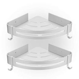 HBselect 2Pcs Duschablage ohne Bohren Duschregal Eckregal mit 2 Haken Aluminium Duschkorb rostfrei Wasserdicht Badezimmer Küche (silbrig) - 1