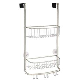 mDesign Duschablage zum Hängen über die Duschtür - praktisches Duschregal - ohne Bohren zu montieren - Duschkörbe zum Hängen aus Edelstahl in mattschwarz- für sämtliches Duschzubehör -