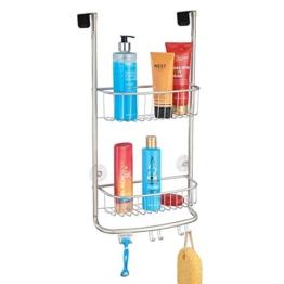 mDesign Duschablage zum Hängen über die Duschtür - praktisches Duschregal ohne Bohren - mit Saugnäpfen - Duschkorb zum Hängen aus Metall für sämtliches Duschzubehör - mattsilber - 1