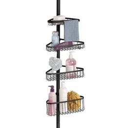 mDesign Duschregal ohne Bohren aus Metall – praktischer Shower Caddy für die Ecke – ausziehbare Duschablage für Shampoo, Conditioner etc. – mit Handtuchstange – mattschwarz - 1