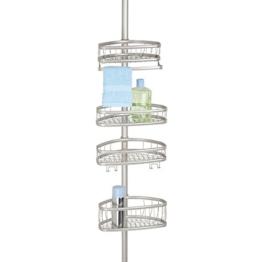 mDesign Teleskop-Duschregal - ohne Bohren zu montierende Duschablage aus Metall - ideal für Shampoo, Rasierer, Schwämme und sonstiges Duschzubehör - 1
