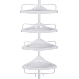 SONGMICS Duschregal, 85-305 cm höhenverstellbar, Badregal mit 4 Tabletts, Duschecke, kein Bohren notwendig, weiß BCB001A - 1