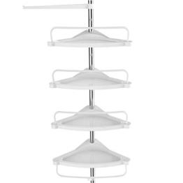 SONGMICS Duschregal höhenverstellbar, Eckregal fürs Badezimmer, Badregal, 95-300 cm, Boden bis Decke, Edelstahl, 4 Ablagen, 3 Haken, 1 Handtuchhalter, weiß-silbern BCB02SW - 1