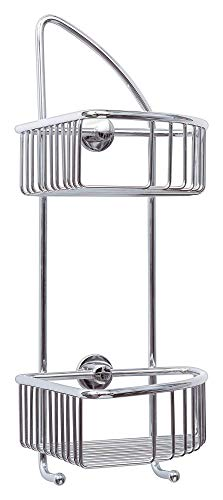 Tesa draad Eck-Duschregal (zweistöckig, zwei Haken, Messing, verchromt, inkl. Klebelösung, 425mm x 180mm x 205mm) - 1