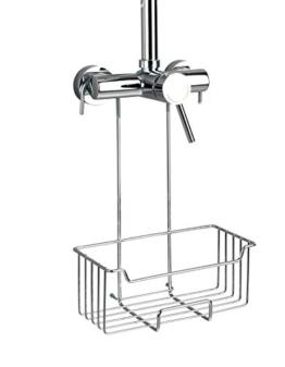 Wenko Thermostat-Dusch-Caddy Milo, Duschregal zum Einhängen an die Armatur in der Dusche, Duschablage aus rotfreiem Edelstahl 25 x 36 x 14 cm, glänzend - 1