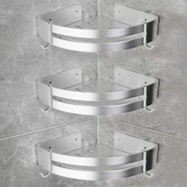 Yorbay Duschregal ohne Bohrung mit Montagestoff, Dreieck Badregal aus Aluminium mit Haken, 3 Stücke in einem Set (Mehrweg) - 1