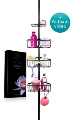 Zen Garden® Premium Teleskop Duschregal – edles Eckregal mit Rasierer-Halterung für Dusche & Badewanne – Duschablage ohne Bohren mit 4 Körben (matt schwarz) - 1